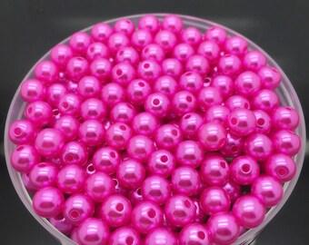 40 small 3 mm fuchsia acrylic beads
