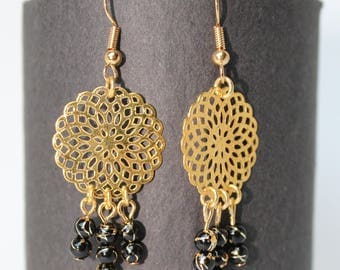 Earrings Golden Metal stamp and black beads