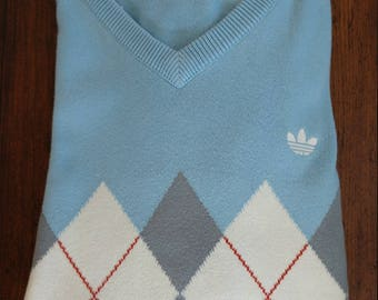 Classic Adidas Argyle Cotton-Blend V-Neck Sweater (M)
