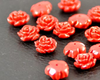 X 4 magnificent flowers, 1 cm red x0.5 cabochons
