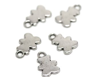 """10 charms """"Pooh"""", 15 x 10 mm, silver, A 044"""