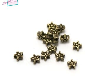 "50 beads ""Star"" 4 x 4 x 2, 5mm bronze 007"