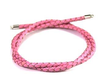 Pink leather braided genuine 4mm, 1 m