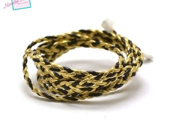 1 m strap braided faux leather 4 mm, black/gold 013