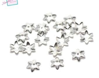 """500 bead caps """"Star"""" 7.5 mm plain silver"""
