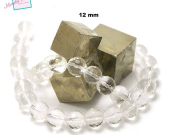 "strand 39 cm approx 32 beads of rock crystal ""faceted round 12 mm"", natural stone"