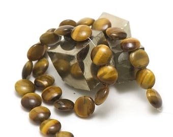 "strand 39 cm 28 beads of Tiger's eye ""round puck 13 x 6 mm"", natural stone"