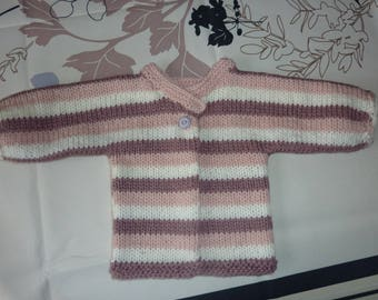 baby 3 months jacket knitted hands