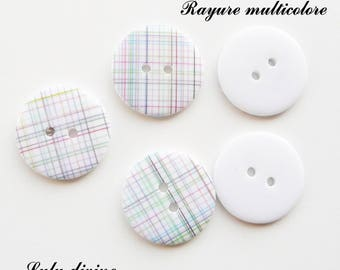Set of 5 buttons round 23 mm 2-hole: multicolored stripes