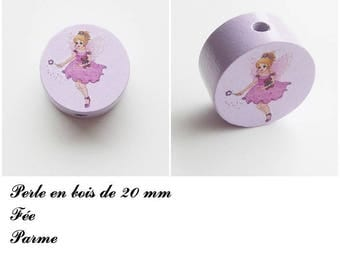 20 mm wooden bead, Pearl flat fairy: violet