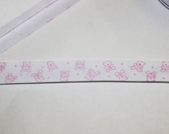 motifs and white through pink bears 2 cm wide sold by the yard