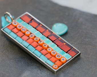 Mosaic glass, smalts, terracotta and millefiori rectangular pendant
