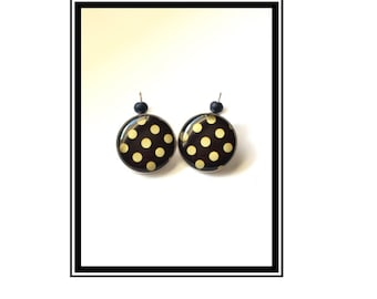 "Original & unique earrings ""Black ' n Gold"" black gold Love Black Gold dot polka dots"