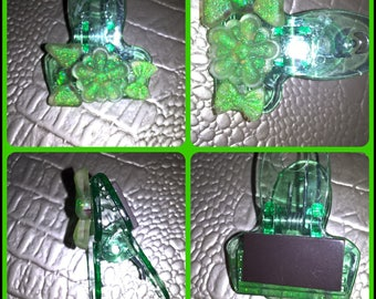 Clip with green translucent resin magnet