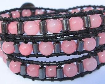 Glass beads and Hematite wrap bracelet