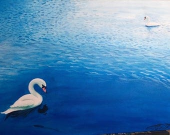Two Swans in a Lake - [ORIGINAL] 20 x 30 Acrylic Painting