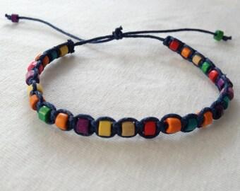 Wood bead macrame Friendship Bracelet