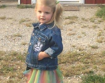 children's jean jacket with cartoon pocket
