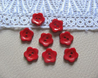8 buttons 12mm red plastic flowers
