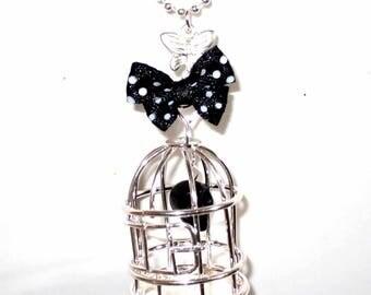 Kit skull Black Silver cage necklace 80cm