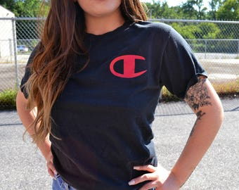 vintage champion reg logo graphic t shirt