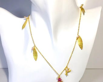 Leaf necklace pendant gold chain  red Japanese Czech beads Swarovski pearls with hummingbird