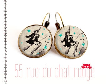 Earrings glass cabochon 12/14/16/18/20 mm witch on her broomstick, stars, pinup, year 60's