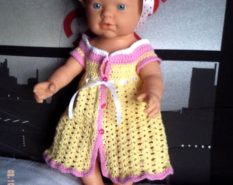 Whole dress + Hat cotton baby Preemie or doll of 42 cm