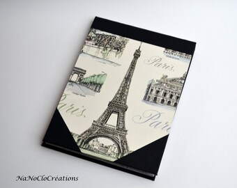 Block notes Memo Eiffel Tower black faux leather A5 size