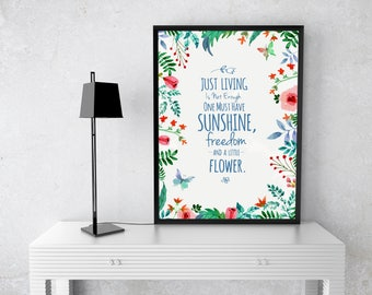 Floral quote svg cut file / watercolour printable / wall print / poster / house decor