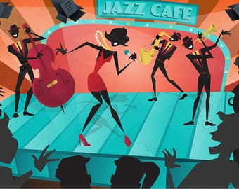 SET of TABLE ORIGINAL design, WASHABLE and durable - music - Illustration - live jazz band - classic.