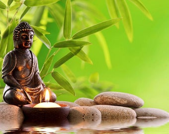 PLACEMAT semi-rigid ORIGINAL AESTHETIC WASHABLE and durable - Zen - Buddha Statuette in front of a candle.