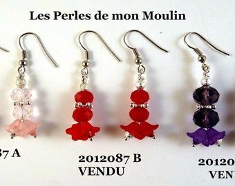1 pair to choose Lucite Flower Earrings / 2012087 A-B-C