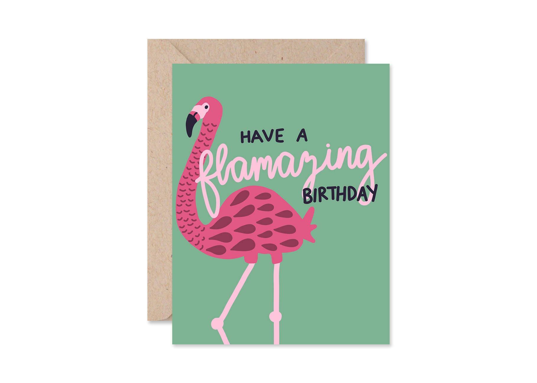 Flamingo Birthday Card Card for Best Friend Funny Birthday