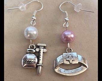 "Nurse mismatched earrings ""headdress and syringe"""