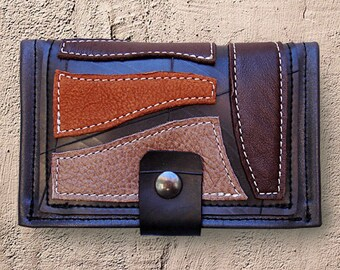 Tobacco pouch ethnic in inner tube recycled and Brown toned leather / beige.