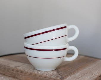 Vintage Pyrex 701 Tableware Mugs with Ruby Band (set of 2)