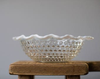 Vintage Anchor Hocking Moonstone Clear Opalescent Crimped Bowl