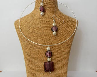 Necklace + earrings brown glass