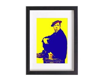 Pop art print of Buster Keaton | Funky pop art print poster 6x4 or 12x8 inches | Ready to be framed and matted | Free Shipping #4