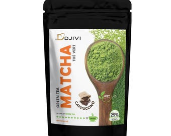 Dodjivi Matcha Green Tea Powder Organic 100% Cappuccino Matcha Green Tea Japanese Mighty Antioxidant - Flavored Matcha - (50g)