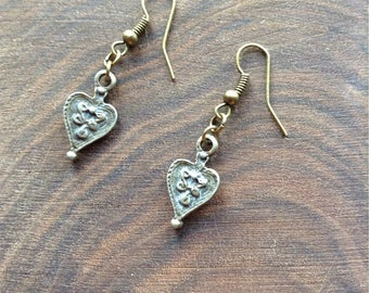 Bronze heart drop earrings