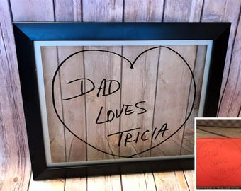 Personalized handwriting art memory framed home decor