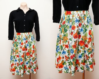 70s does 1950s circle day skirt flower print