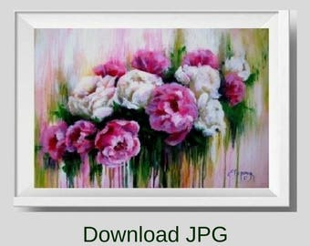 Peony print from painting Pink peony printable Peony download Flower instant download painting Peony wall art print Knife flower canvas art