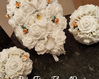 Rose and Calla Lily bridal bouquet and two bridesmaids posies