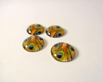 4 cabochons multicolored peacock feathers - 14mm - jewelry creations - embellishment