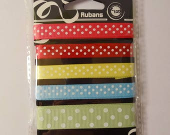 colorful polka dots - scrapbooking - sewing - embellishment 5 ribbons