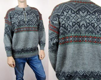 vintage Dale of Norway Christmas Fair Isle Nordic chunky knit print wool sweater jumper XL