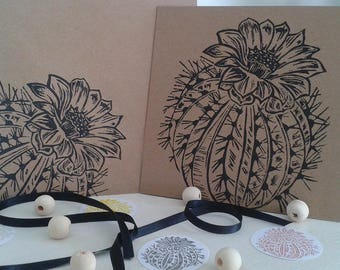 Card and envelope linocut Cactus kraft 15/15 cm